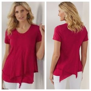 Soft Surroundings Everly Cotton Tee Red